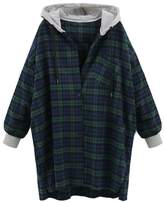 YesFashion Women's Vintage Plus Size Plaid Hooded New Look Loose Coat 2XL