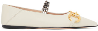 Gucci White Horsebit Ballet Flats