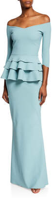 Chiara Boni Off-Shoulder 3/4-Sleeve Triple Peplum Gown
