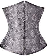 OMG_Shop OMG Brocade Waist Training Steel Busk Boned Underbust Corset Slim Body Bustier