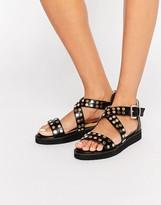 London Rebel Cross Strap Stud Flat Sandals