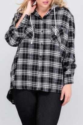 Janette Plus Flannel Hoodie Top