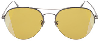 Bottega Veneta Gold Semi-Rimless Aviator Sunglasses