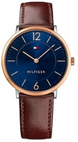 Tommy Hilfiger Slim Rose Gold Watch With Brown Leather Strap