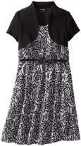 My Michelle Girls 7-16 Belted Embossed Dress with Shrug