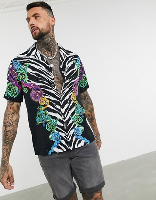 Versace revere collar shirt in tiger and baroque