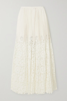 Valentino Plisse-leather And Lace Maxi Skirt - Ivory