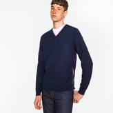 Paul Smith Men's Navy Wool-Blend V-Neck Sweater With Multi-Coloured Stripe Detailing