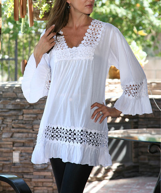 Ananda's Collection Women's Tunics White - White Cutout Peasant Tunic - Women