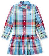 Ralph Lauren Girls 2-6x Plaid Button-Front Shirtdress
