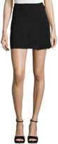 Alice + Olivia Bianka Side-Pleat Miniskirt, Black
