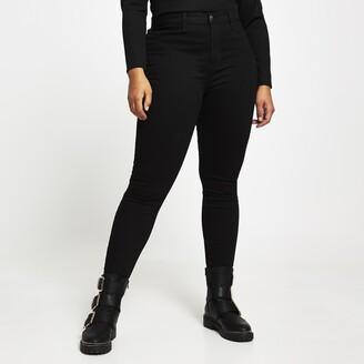 River Island Womens Plus Black Kaia high rise disco jeans