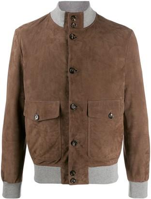 Eleventy Wool-Trim Leather Jacket