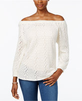 Style&Co. Style & Co Off-The-Shoulder Open-Knit Sweater, Only at Macy's