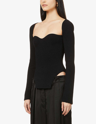 KHAITE Maddy sweetheart-neckline knitted top