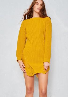 Ever New Rosita Mustard Distressed Knit Jumper Dress