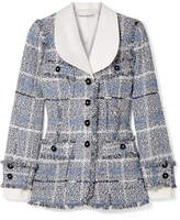 Alessandra Rich - Twill-trimmed Metallic Tweed Blazer - Light blue