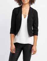 Charlotte Russe Collarless Ruched Sleeve Cropped Blazer