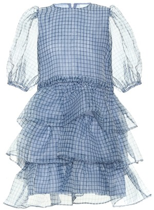 Ganni Checked organza minidress