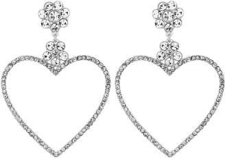 Lipsy Silver Crystal Encrusted Heart Shaped Hoop Earring