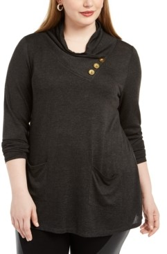 Belldini Plus Size Cowlneck Tunic Sweater