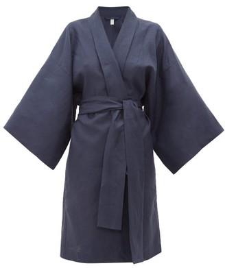 Rossell England - Wrap Kimono-style Linen Robe - Womens - Navy