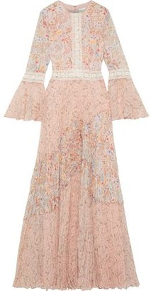 Mikael Aghal Pleated Lace-trimmed Floral-print Chiffon Gown