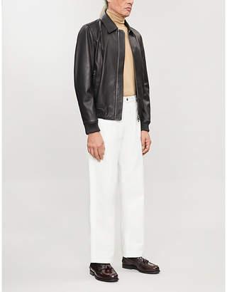 Corneliani Collared leather bomber jacket
