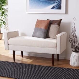 Corrigan Studioâ® Borden Faux Leather Bench Corrigan StudioA Upholstery: Linen Beige