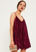 Missguided Petite Exclusive Burgundy Pleated Velvet Cami Dress