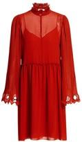 See by Chloe Ruffled Collar Bell Sleeve Georgette Shirtdress