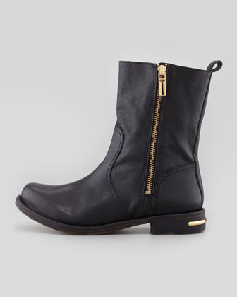 Tory Burch Elyse Distressed Leather Boot, Black