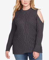 Jessica Simpson Trendy Plus Size Posy Cold-Shoulder Sweater