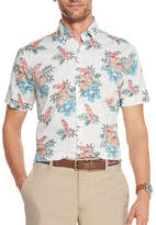 Izod Mens Short Sleeve Dockside Chambray Floral Button-Front Shirt