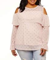 Boutique + + Long Sleeve Cold Shoulder Mesh Blouse-Plus
