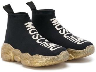 MOSCHINO BAMBINO Logo-Intarsia Sneakers