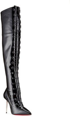 Christian Louboutin Epic et French Patent Lace-Up OTK Boots