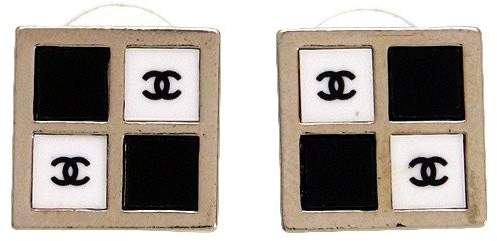 Chanel CC Logo Black White Square Stud Earrings