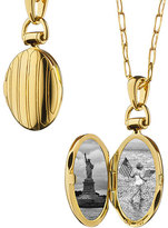 "Monica Rich Kosann 18k Gold Petite Pinstripe Locket, 30""L"