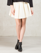 MAISON KITSUNÉ Beige Solid Pleated Gabardine Skirt