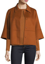 Neiman Marcus Luxury Kimono-Sleeve Double-Face Cashmere Cropped Jacket