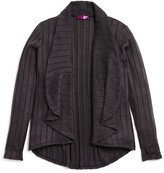 Aqua Girls' Wide Ribbed Drape Front Cardigan - Sizes S-XL