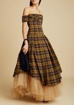KHAITE The Amanda Dress with Petticoat in Brown Check