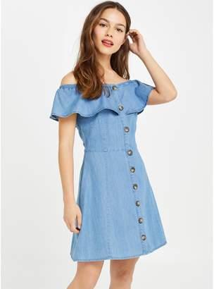 Miss Selfridge Petite Twill Denim Bardot Dress - Blue