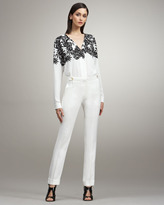 Peter Som Cropped Narrow Trousers, White