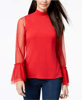 Thalia Sodi Mock-Neck Sheer-Sleeve Top, Created for Macy's