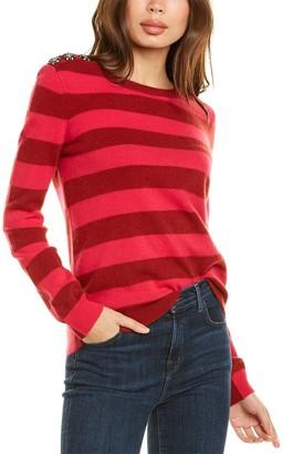 InCashmere Button Stripe Cashmere Sweater