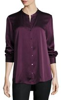 Eileen Fisher Silk Mandarin-Collar Shirt, Black, Petite