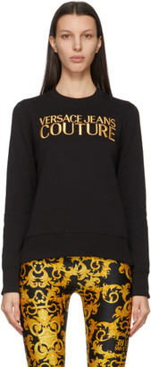 Versace Jeans Couture Black and Gold Institutional Logo Sweatshirt