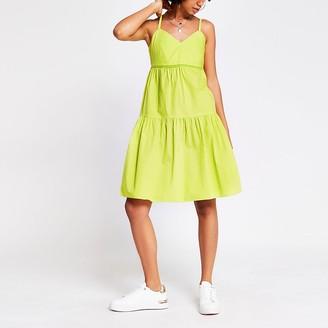 River Island Green sleeveless ladder trim smock dress